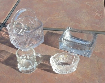 Group of Clear Glass Salt and What Not Containers