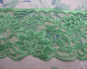 Wide Scalloped Green Lace, Applique Lace, Green Nylon Lace, 4 Inch Wide, One Yard, By the Yard, Sewing Art Craft Supplies