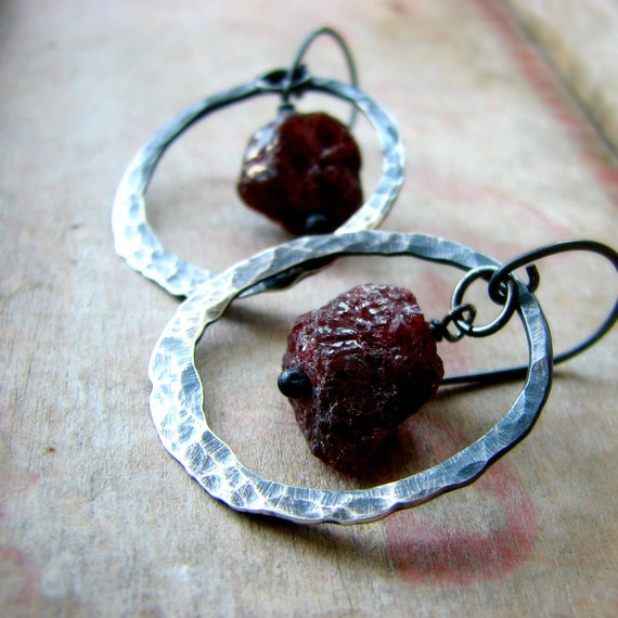 Hammered sterling silver hoops rustic garnet nuggets autumn raw earthy - Mining on Mars
