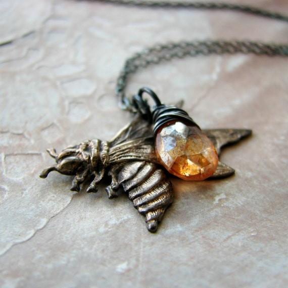 Bee charm necklace wire wrapped quartz necklace honey sterling silver brass stamping - The Beekeeper