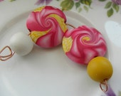 RESERVED CUSTOM Polymer clay lentil bead set Pinks and yellows