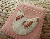 Pretty Peach Colour Felt Hand Embroidered Card Case