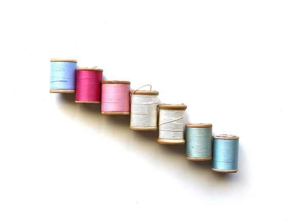 All Spooled Up - Vintage Large Wooden Spools of Pastel Thread