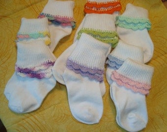 Any color hand crocheted baby socks