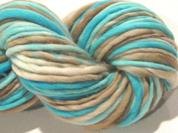Bulky Handspun Yarn Robin's Nest 52 yds, thick and thin, hand dyed merino wool, turquoise blue brown knitting supplies crochet supplies