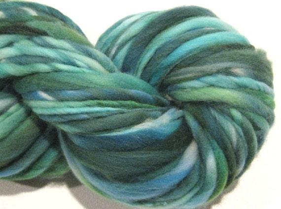 handspun yarn Elphaba thick and thin bulky merino yarn, 50 yards, spruce green yarn, hand dyed merino wool waldorf doll hair
