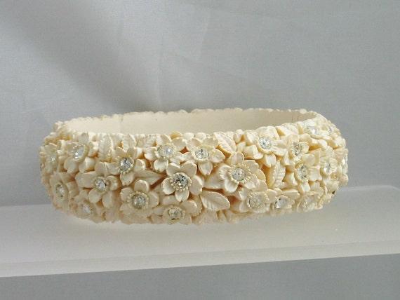 Vintage Deeply Carved, Molded CELLULOID BANGLE Bracelet, Rhinestones
