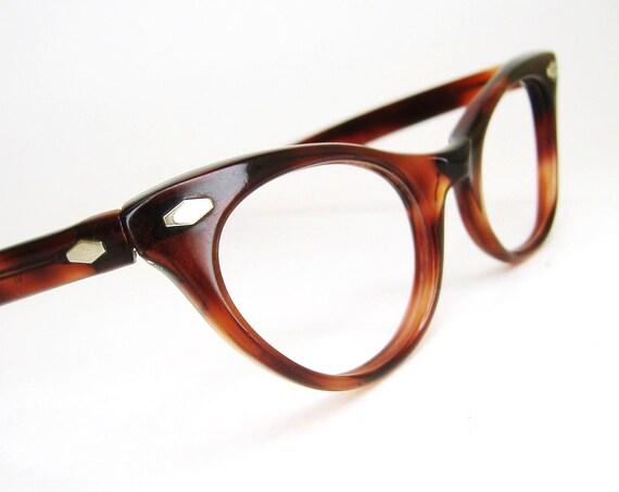 Vintage Womens 50s Horn Rim Cat eye Glasses Eyeglasses Red Tortoise Frame