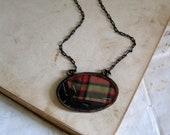 Plaid Vintage Quilt Top Necklace