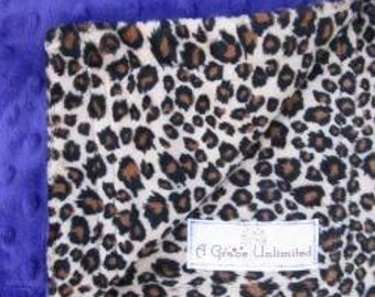 Cheetah and dark purple dot minky baby blanket