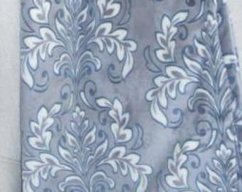 Grey damask minky baby blanket
