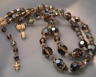 Vintage VENDOME Mink Crystal Double Strand Necklace