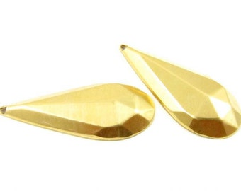 4 - Raw Brass Faceted Tear Drop Charms