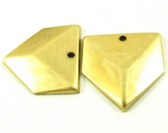 4 - Raw Brass 3D Looking Triangle Charms