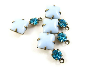 2 - Vintage Glass Square and Round Stones in 1 Ring 2 Stones Antique Brass Prong Settings - Light Blue & Dark Aqua - 18x11mm