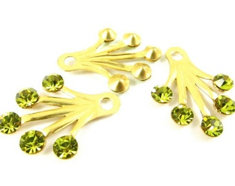 2 - RARE Brass Dangle Finding with Swarovski Crystals Ear Jacket - Light Olivine - 22x18mm