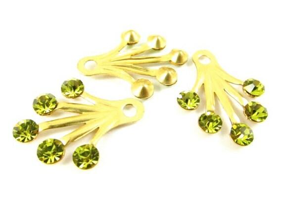 2 - RARE Brass Dangle Finding with Swarovski Crystals Ear Jacket - Light Olivine - 22x18mm