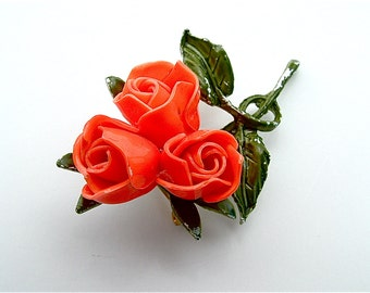 Tangerine Orange Three Rose Blossom Brooch Bouquet