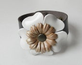 Dark Brown Leather Cuff Leather Bracelet with White and Gold Tone Flowers