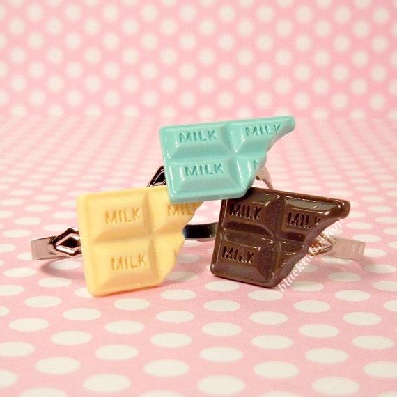 Kawaii Sweet Lolita Ring Pastel Milk Candy Bar Faux Sweets Vanilla Silver Adjustable - Vanilla ONLY