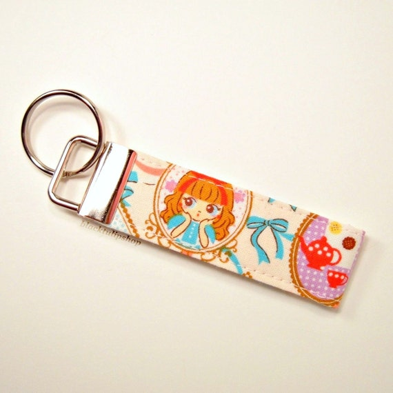 Japanese Fabric Key Ring Mini Fob Sweet Lolita French Girl