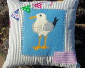 Seaside Seagull Cushion (Pillow) Cover pdf Pattern download