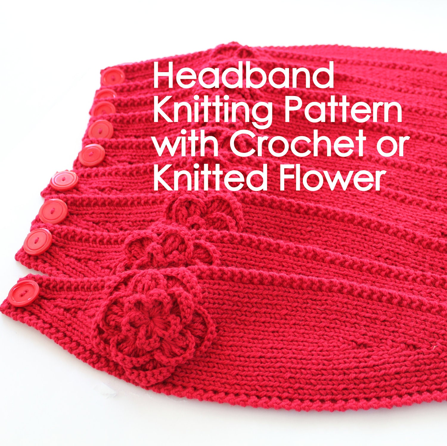 Knitted Headband Patterns With Flower : KNITTING PATTERN Headband with Crochet Or Knitted Flower