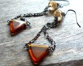 Brown Glass Triangle and Gunmetal Earrings