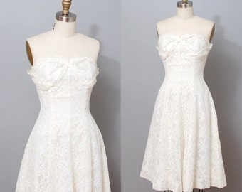 1950s Party Dress - Ivory Lace Ilusion Strapless Full Skirt Dress - Wedding