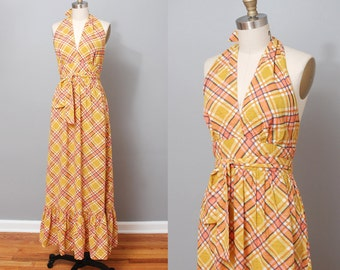 1970s Maxi Dress - Yellow Plaid Halter Dress