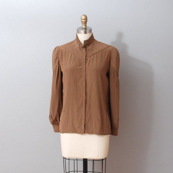 1980s Silk Blouse Chocolate Brown Silk Blouse With Quilted