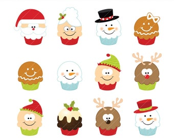 Christmas clipart Cupcakes set digital download CA023 instant download