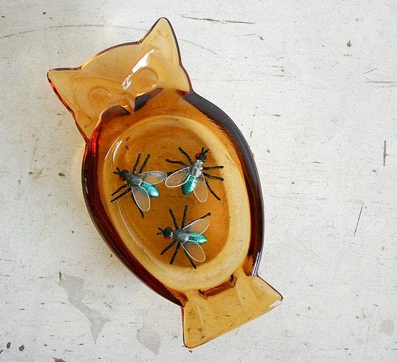 Vintage Glass Owl Ashtray - Spooky Halloween Decor