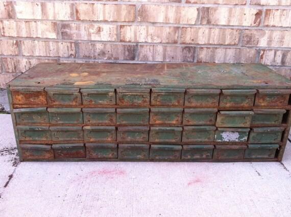 Salvaged - Vintage - Rustic Industrial - Metal Cabinet - Storage - Drawers - Rusty CHIC