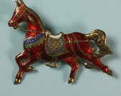 Vintage Siam Horse Brooch Pin Enameled Sterling Colorful