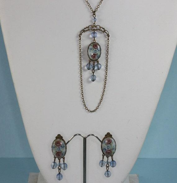 RESERVED LISTING Vintage Porcelain Transfer Pink Roses Blue Crystals Set Necklace Earrings