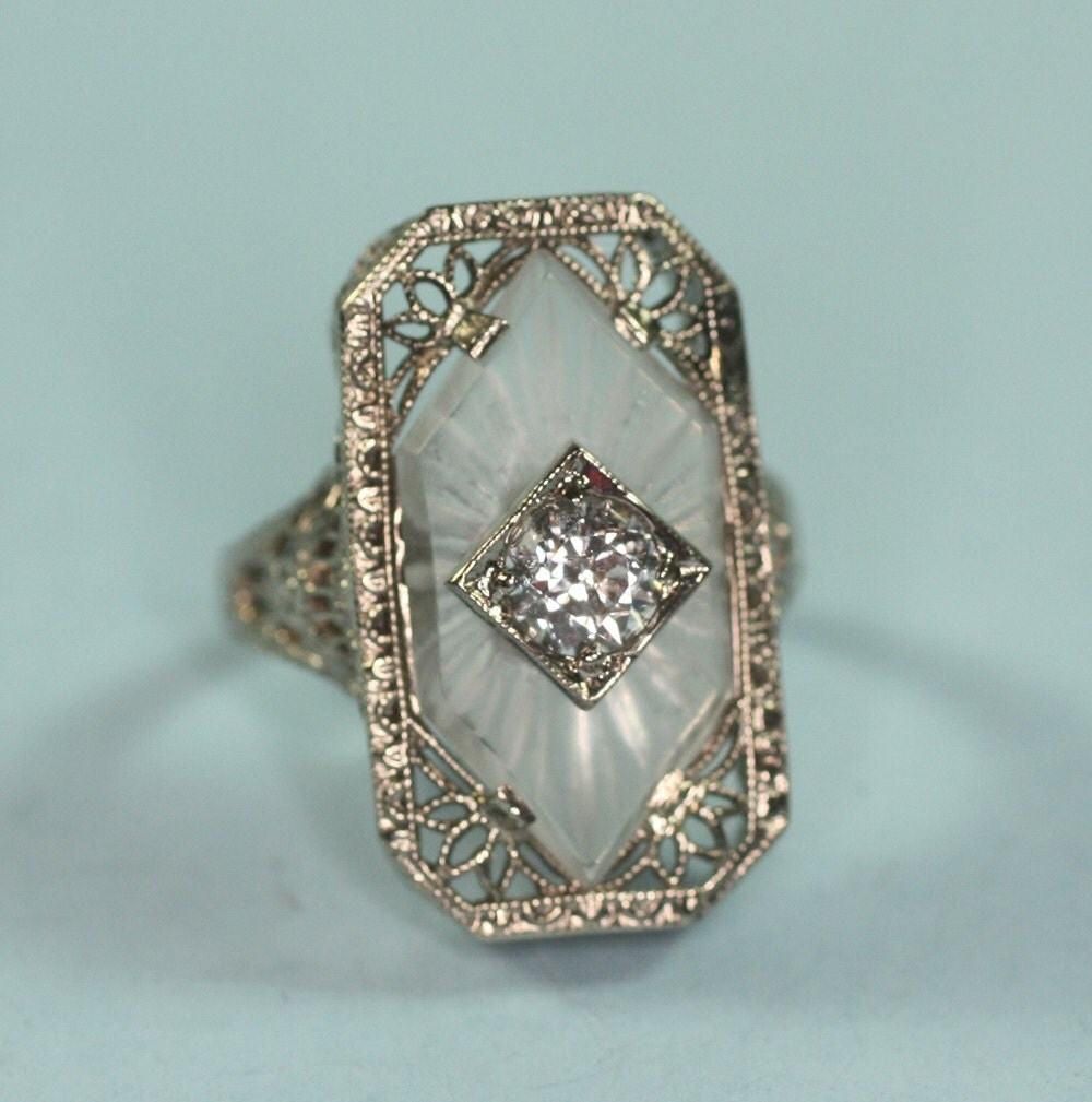 Art Deco Diamond Ring Camphor Glass 14k White Gold Signed Psco