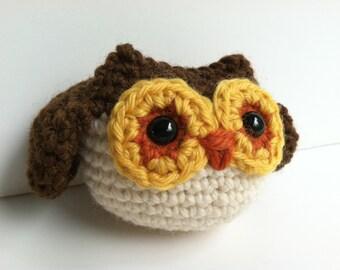 Amigurumi Crochet Owl Toy Plushie - Cocoa Brown and Cream Kawaii Plush Owl Woodland Nursery Decor Gift Under 25 Woodland Owl Plushie Owl