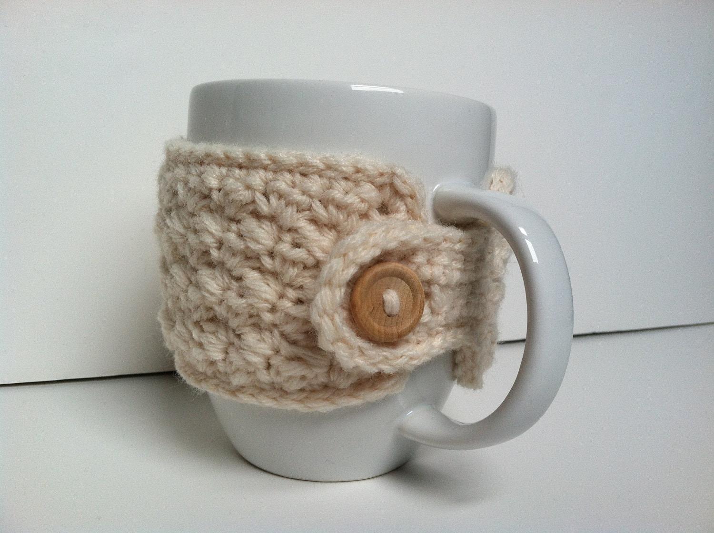 Crochet Coffee Cup Cozy Cream Eco Friendly Cozies Reusable