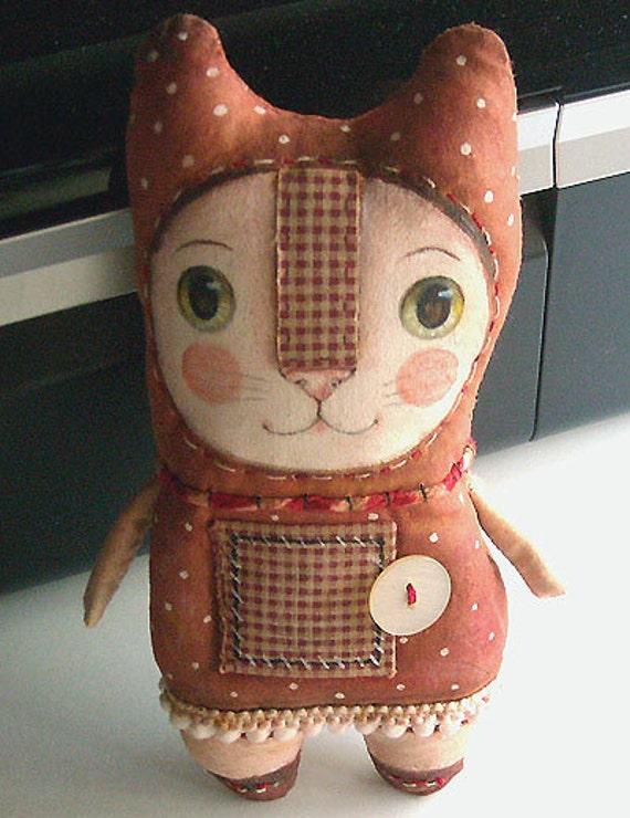 Original art doll folkart  kitty with secret message 3 . OOAK by milliaart.