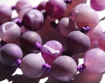 Frosted Purple Druzy Agate Beads - 1/2 Strand at 7.25 inches