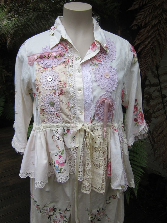 Vintage Kitty.. romantic roses, lace,  pink, batternburg, doilies, upcycled overtop shirt, ooak.. pearls.. Large - XL