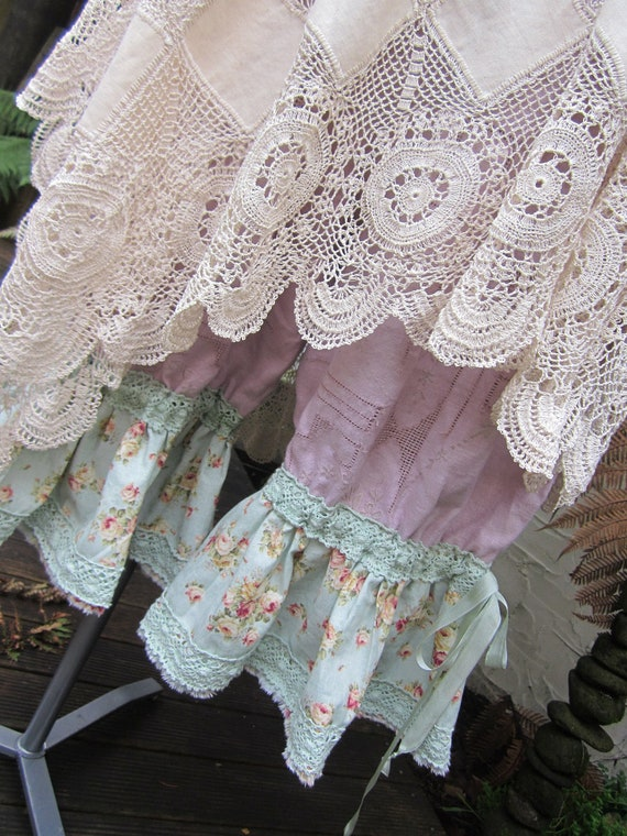 reserved for DAWN-TARA... BLOOMIES... Vintage Kitty ..  grungy dyed linen, ooak, vintage , lace, embroidery.. lge