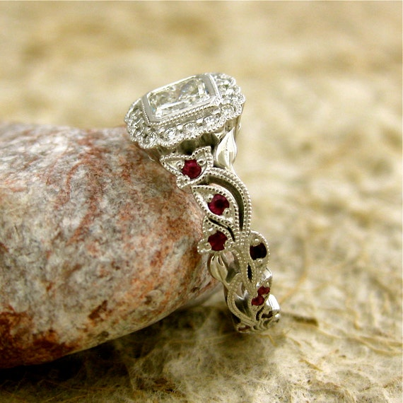 Radiant Cut Diamond Engagement Ring in 14K White Gold with Rubies and Diamonds in Flower Buds and Leafs on Vine Size 5