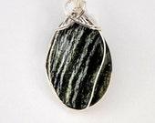 Pendant, Arizona Tiger Eye,. Green, Striped, Sterling silver wire wrap, P197