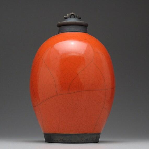 Ceramic jar with lid,urn,Red Orange Raku Jar with lid,large urn, large jar, art pottery,wheel thrown,handmade