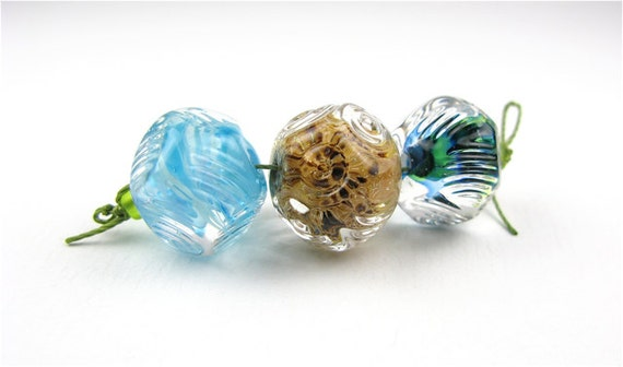 Glass lampwork bead/ Encased and textured glass trio