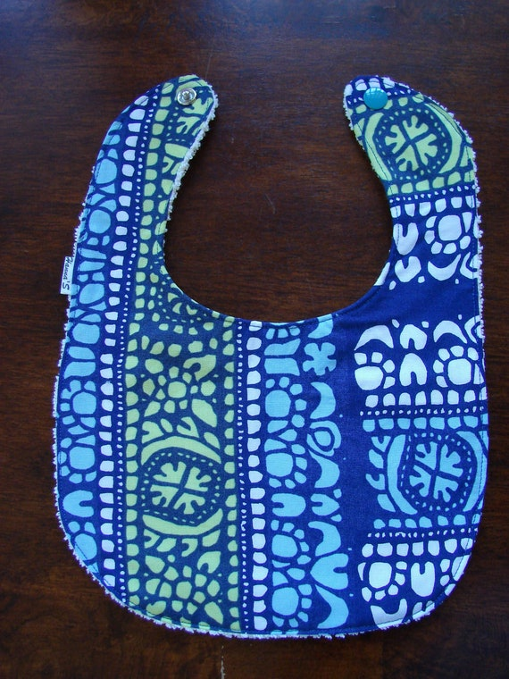Baby Bib, made from Marimekko Blue 'Pidot 'and White Terry , for a boy or a girl Finland
