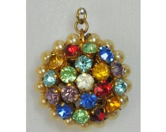 1960s Rainbow of Rhinestones and Faux Pearl Vintage Pendant