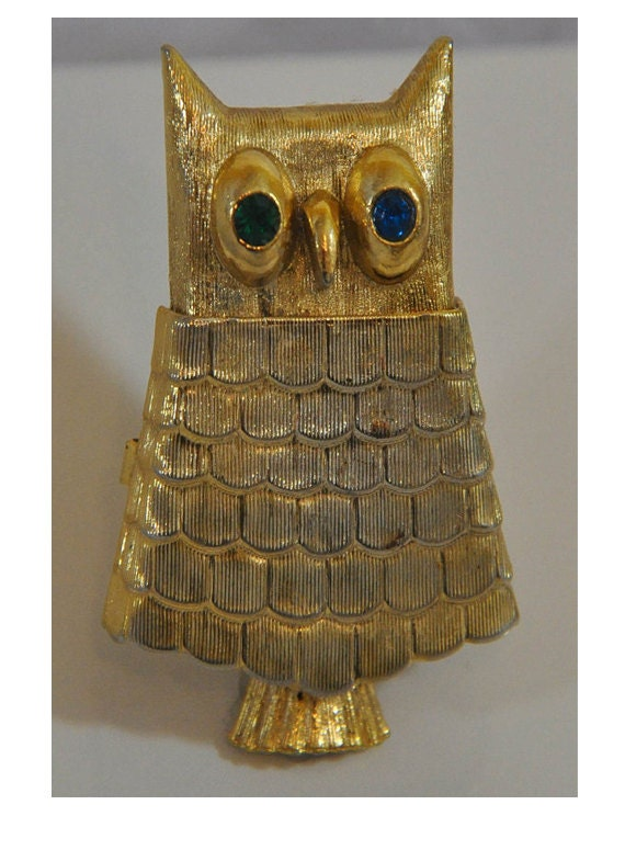 1960s AVON Gold Tone and Rhinestone Owl Heres My Heart Solid Perfume Glace  Vintage Pin Brooch
